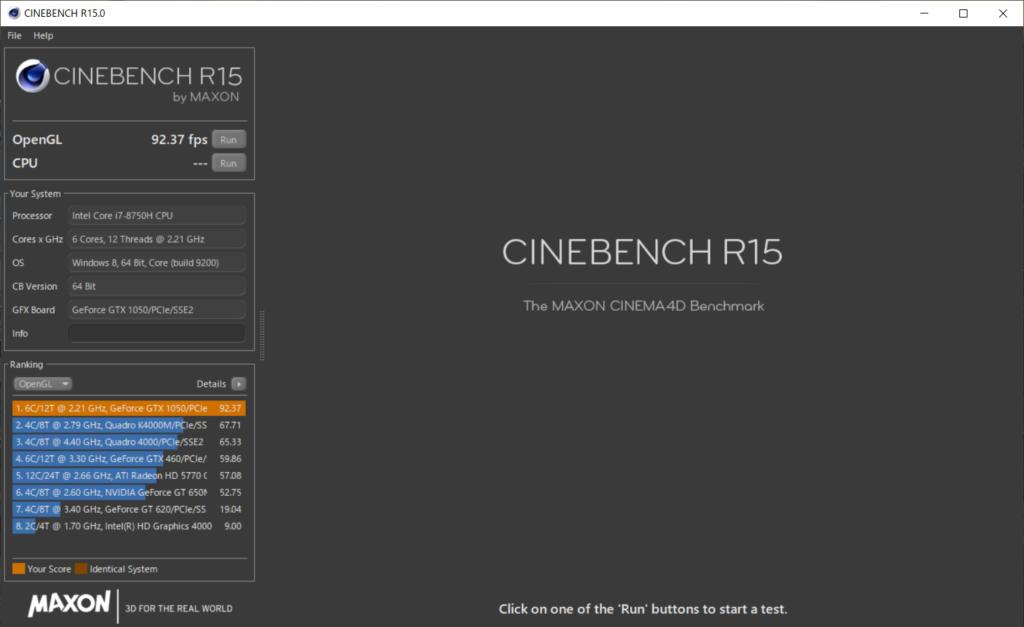 CINEBENCHR15_OpenGLベンチマーク結果