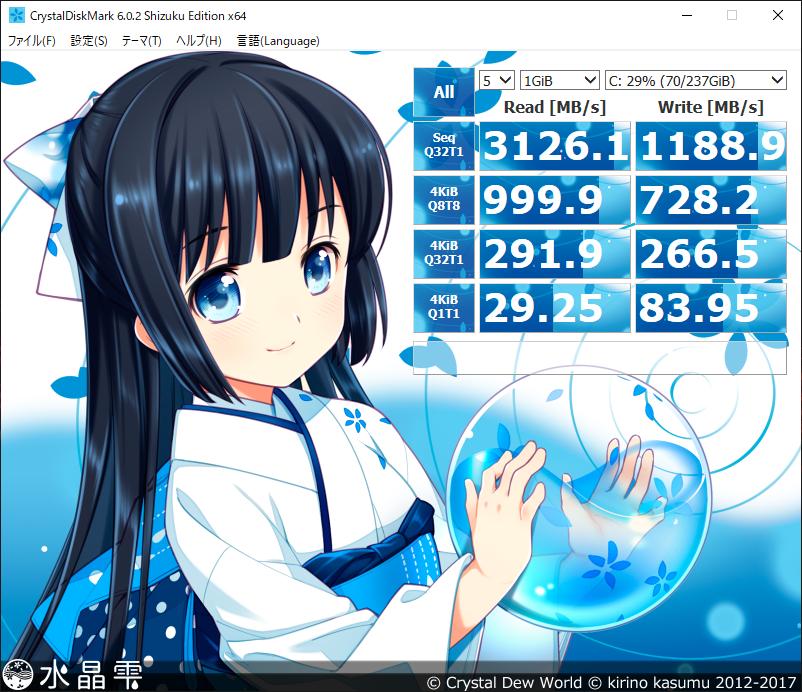 crystaldiskmark Cドライブ(SSD)結果