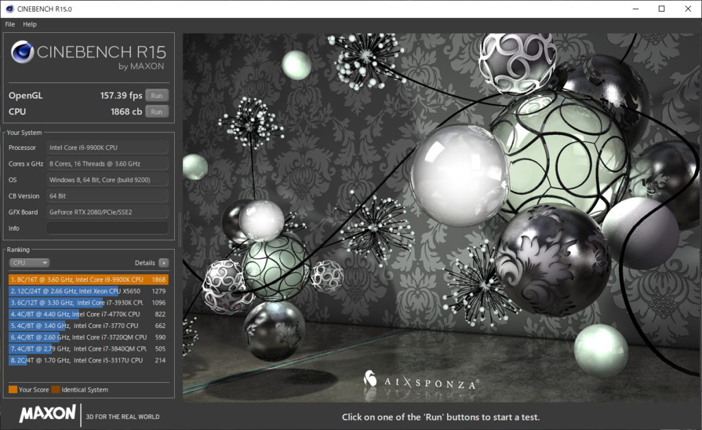 CINEBENCH R15 CPU結果|DAIV-NG7700M1-M2S10-WINR