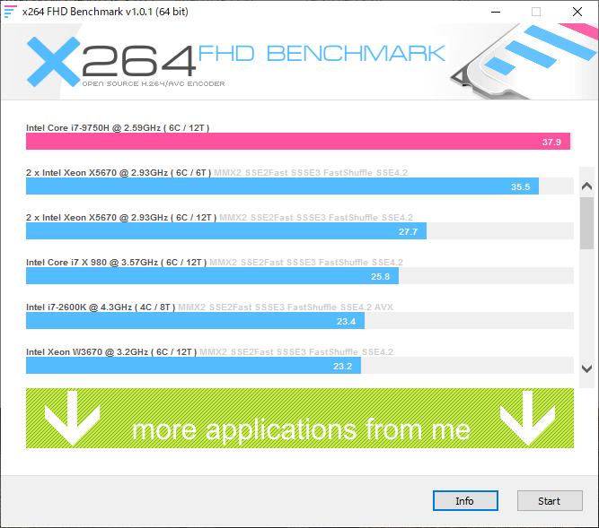 x264FHD Benchmark:m-Book W890XN-M2SH2