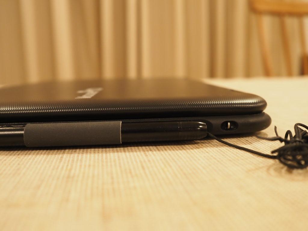 本体右側(スタイラスペン装着時):MousePro P116B