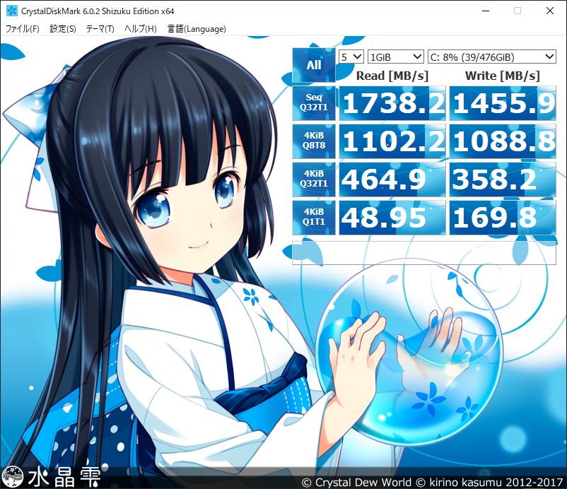 CrystalDiskMark Cドライブ結果:「mouse F5-i5 (インテル Core i5-8265U 搭載)」コラボモデル