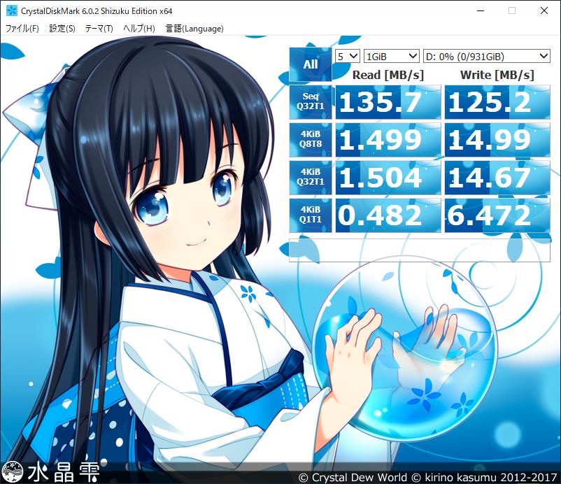 CrystalDiskMark Dドライブ結果:「mouse F5-i5 (インテル Core i5-8265U 搭載)」コラボモデル