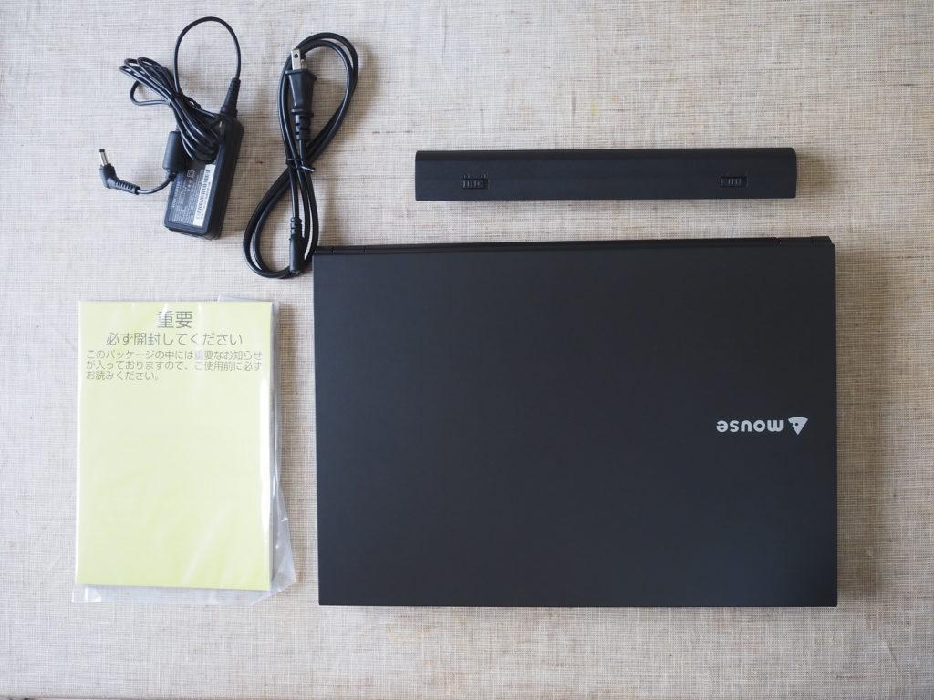 本体外観および添付品:「mouse F5-i5 (インテル Core i5-8265U 搭載)」コラボモデル