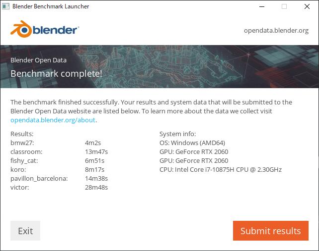 Blender ベンチマーク結果(CPU):DAIV 5N(2020年モデル)