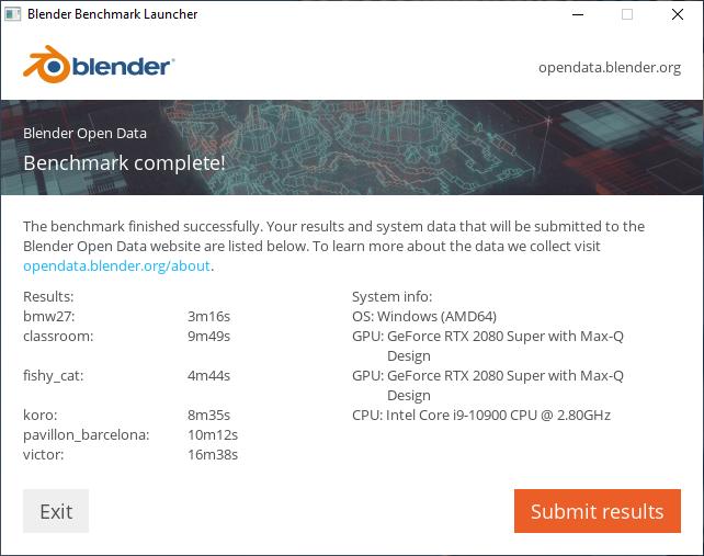 Blender ベンチマーク結果(CPU):HP ENVY All in One 32プロフェッショナルモデル
