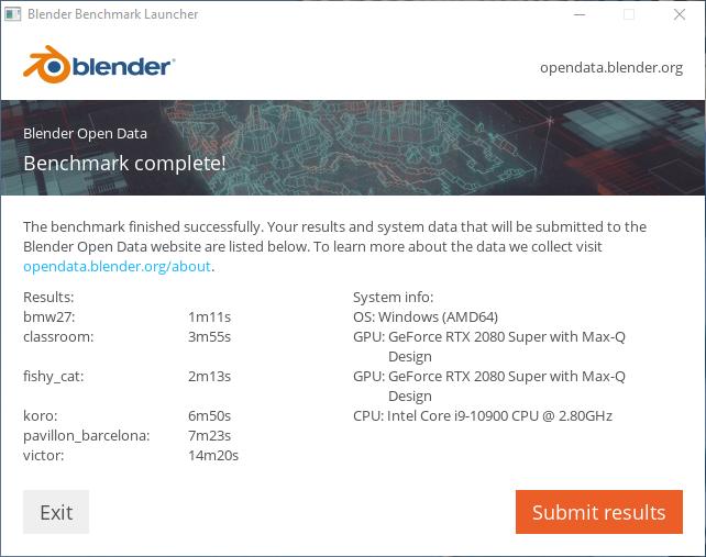 Blender ベンチマーク結果(CUDA):HP ENVY All in One 32プロフェッショナルモデル