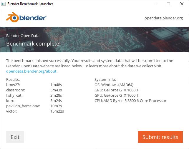 Blender ベンチマーク結果(CUDA):DAIV 5D-R5