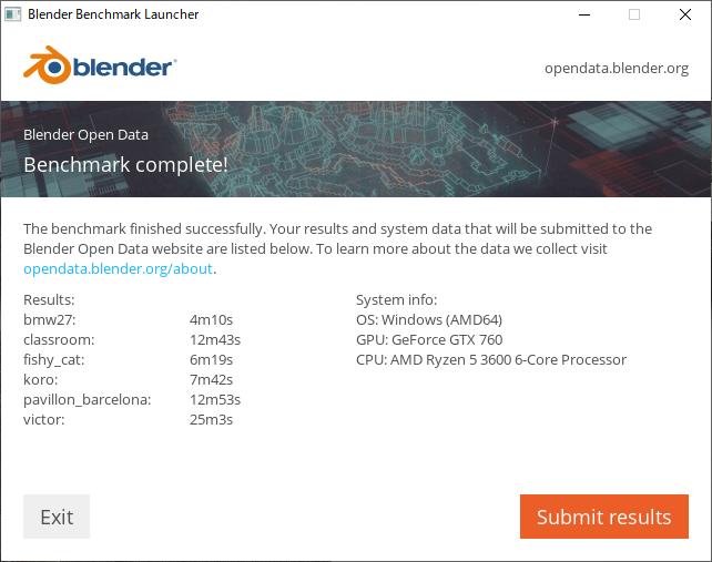 >Blender ベンチマーク結果(CPU):DAIV 5D-R7