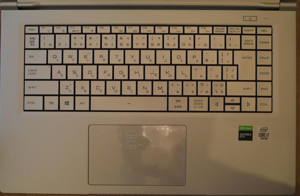 キーボード:DAIV 5P(2020年モデル)(保護フィルムを外した状態)