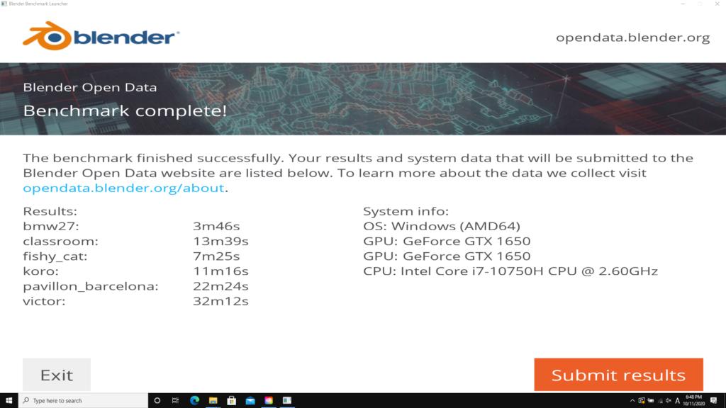 Blender(CUDA) ベンチマーク結果:DAIV 5P(2020年モデル)