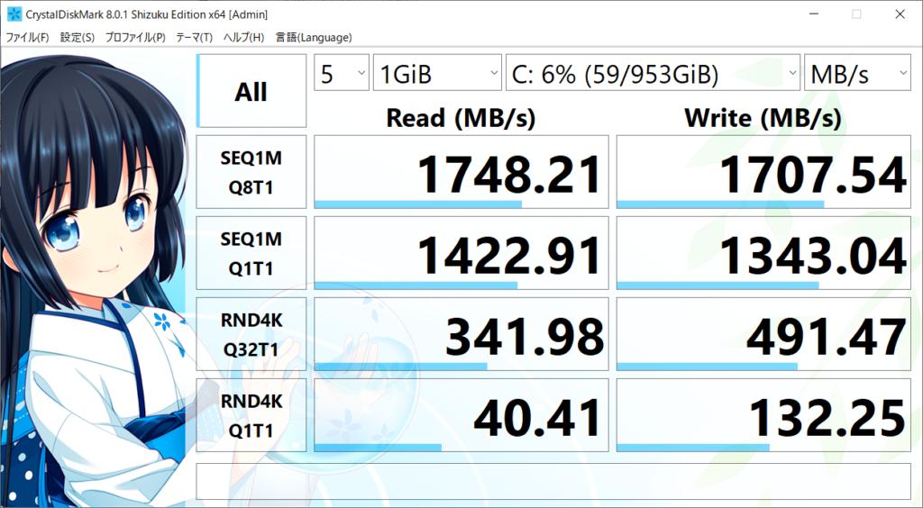 CrystalDiskMarkベンチマーク結果:VivoBook S15 S533EA