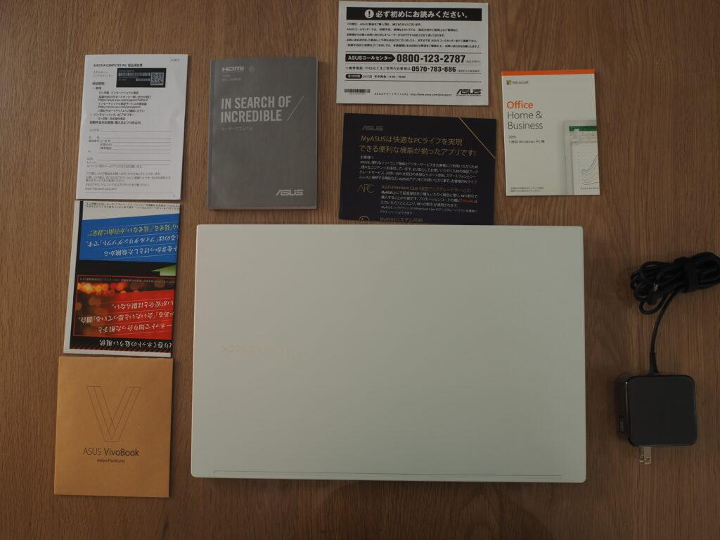 本体および添付品:VivoBook S15 S533EA