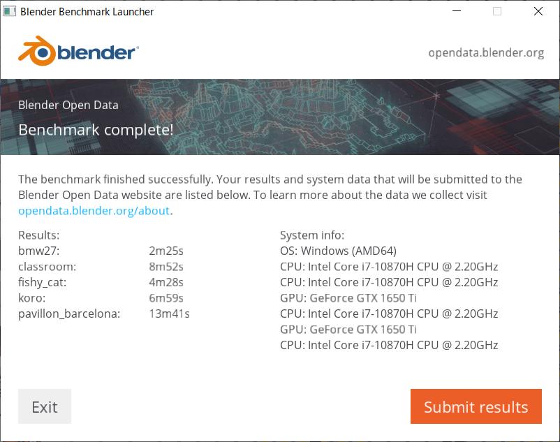 Blenderベンチマーク結果:FX506LI-I78G1650TIS