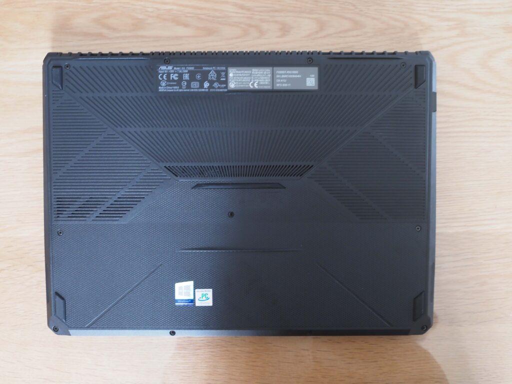 本体裏面:FX505DT-R5G1650S