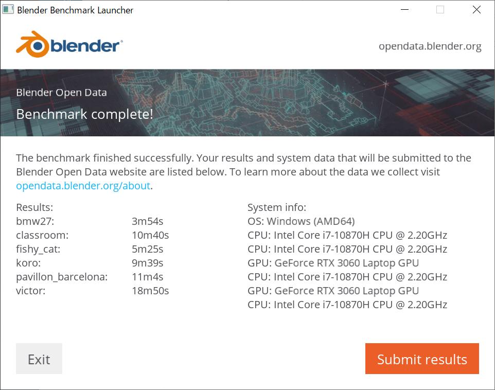 Blenderベンチマーク(CPU)結果:DAIV 5N (32GBモデル)