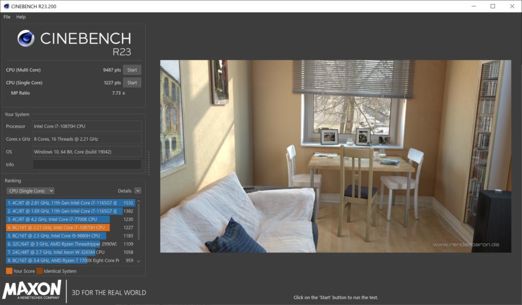 CINEBENCH R23ベンチマーク結果:DAIV 5N (32GBモデル)