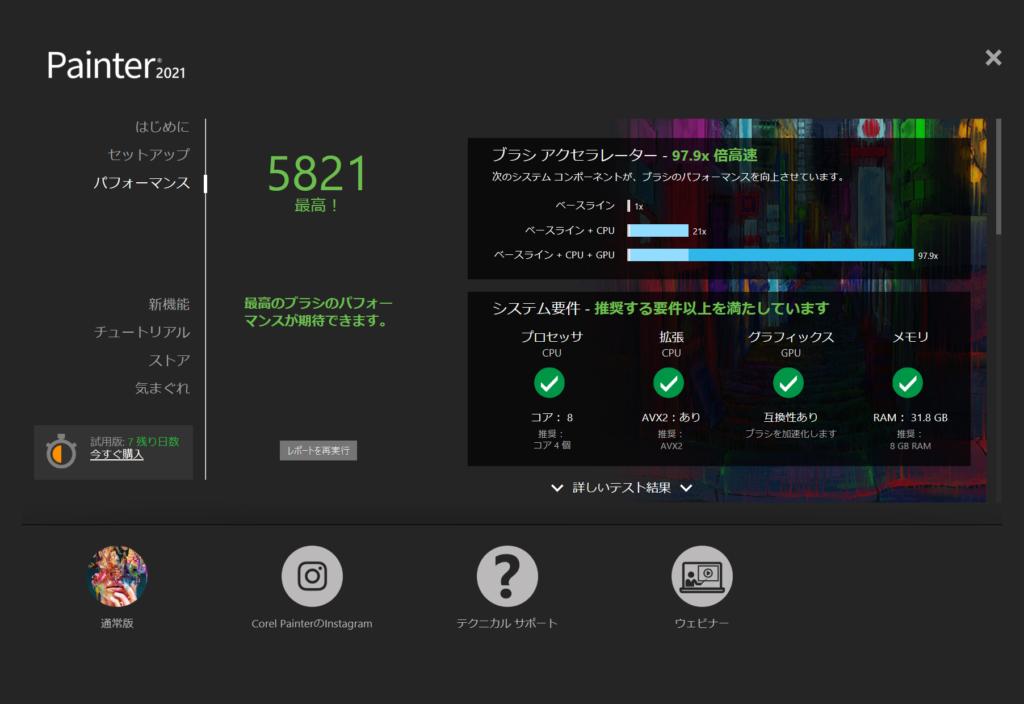 Corel Painterベンチマーク結果:DAIV 5N (32GBモデル)