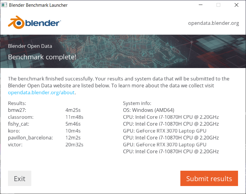 Blender(CPU)ベンチマーク結果:G-Tune H5 (32GBモデル)