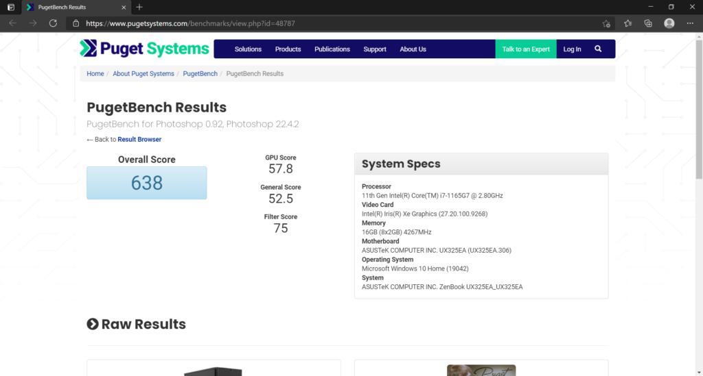Adobe Photoshop CC ベンチマーク結果:ASUS ZenBook 13 OLED UX325EA (UX325EA-KG409TS)
