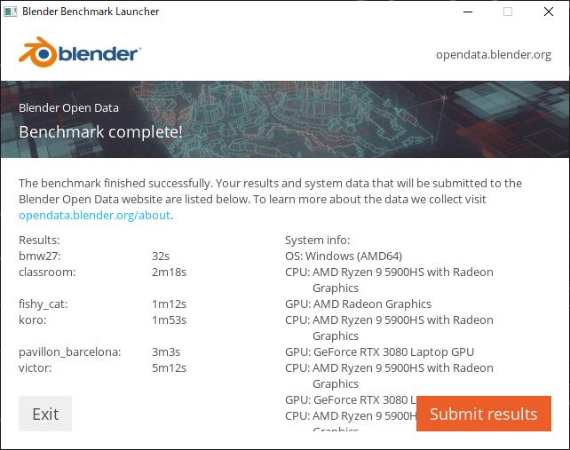 Blender ベンチマーク結果:ROG Zephyrus G15 GA503QS GA503QS-R9R3080G