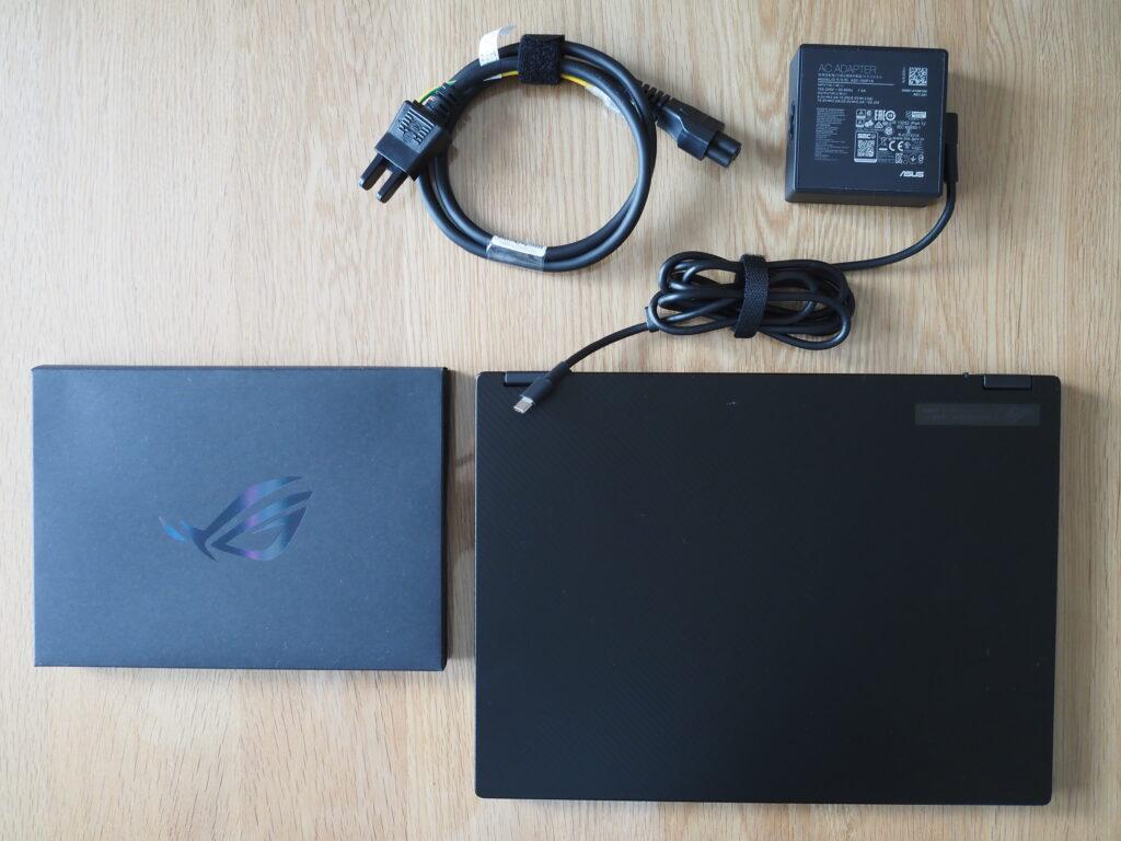 本体外観および添付品:ASUS ROG Flow X13 GV301QE(GV301QE-R9R3050T4K)
