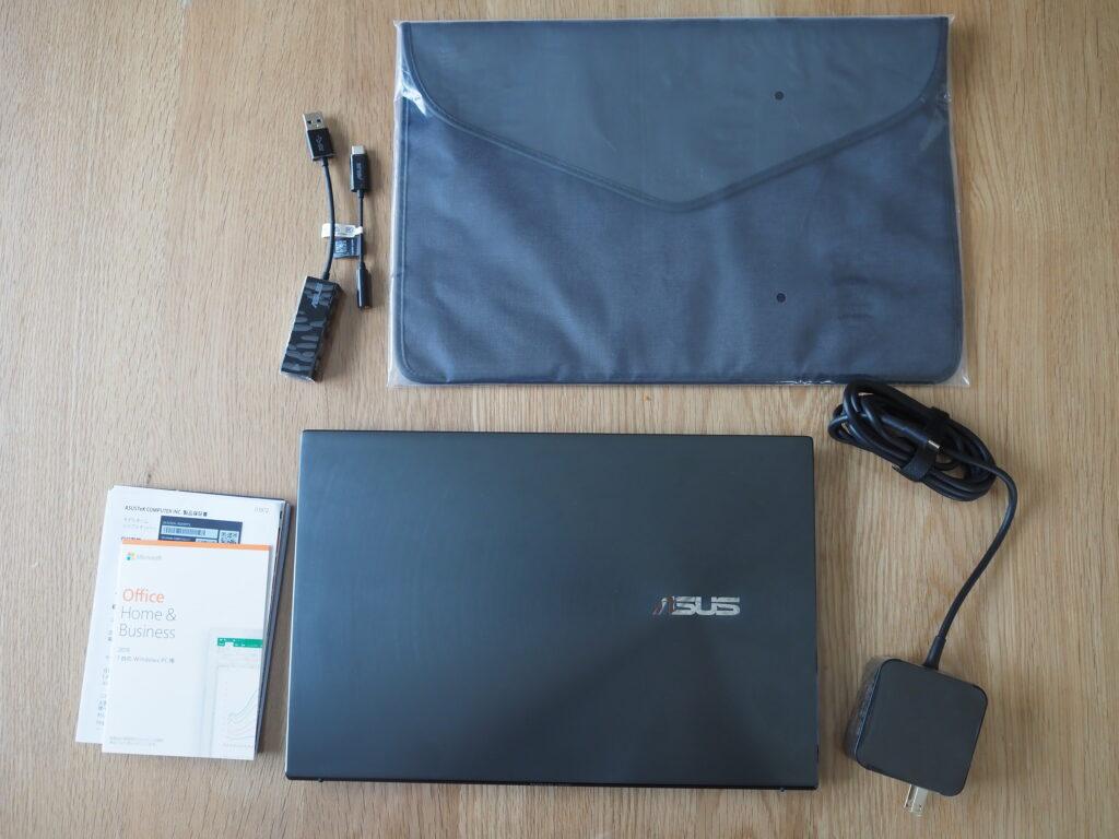 本体外観および添付品:ASUS ZenBook 13 OLED UX325EA (UX325EA-KG409TS)