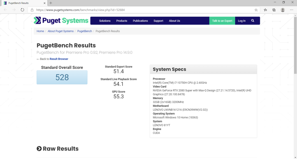 Adobe Premiere Pro ベンチマーク結果:Lenovo Legion 750i(81YT0025JP)