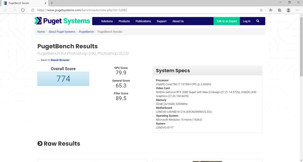 Adobe PhotoShop ベンチマーク結果:Lenovo Legion 750i(81YT0025JP)