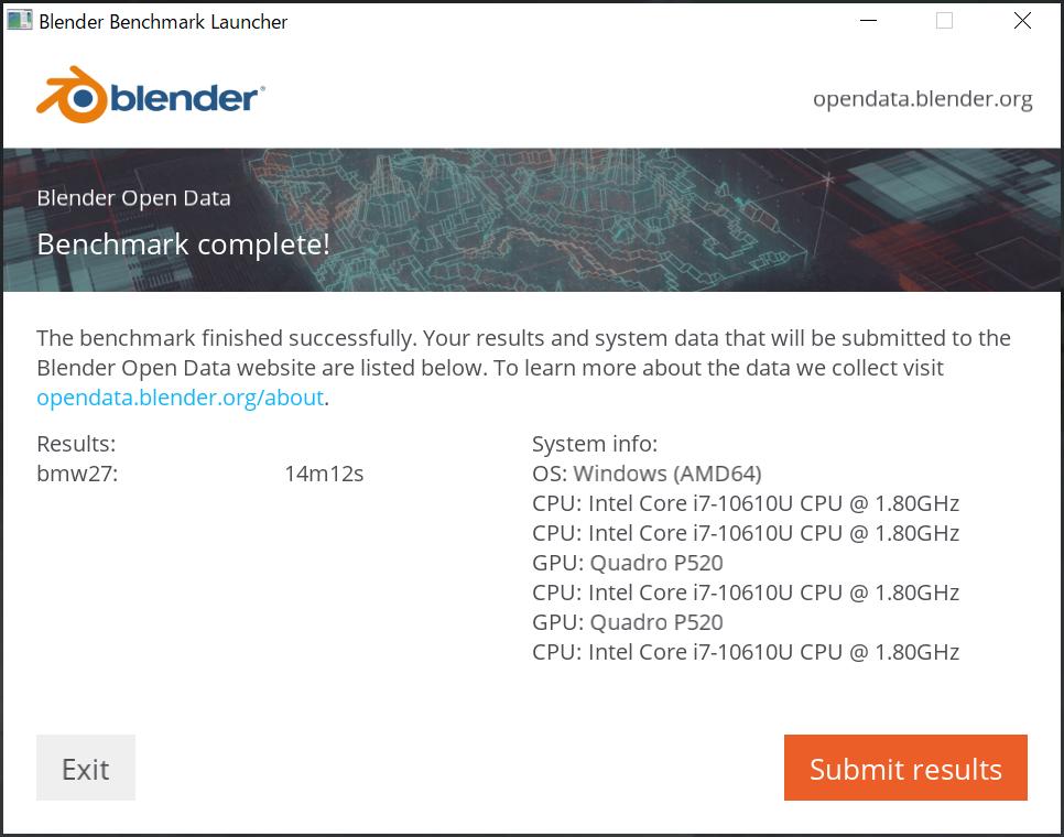 Blender ベンチマーク結果:Lenovo ThinkPad P14s Gen 1(20S50006JP)