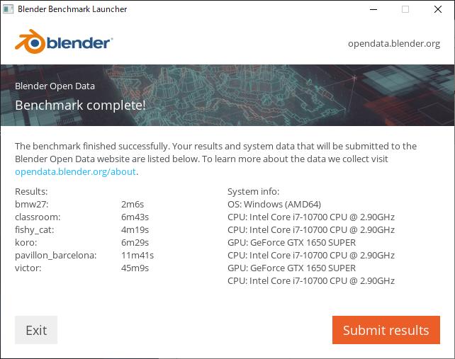 Blender ベンチマーク結果:Lenovo Legion T550i (90NC0079JM)