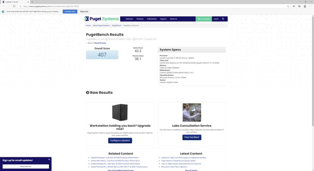 Adobe Lightroom Classic ベンチマーク結果:Lenovo ThinkPad P14s Gen 1(20S50006JP)