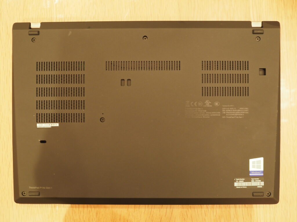 本体裏面:Lenovo ThinkPad P14s Gen 1(20S50006JP)