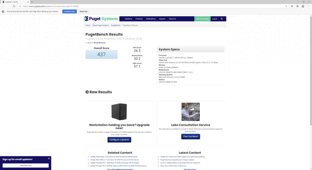 Adobe PhotoShop ベンチマーク結果:Lenovo ThinkPad P14s Gen 1(20S50006JP)