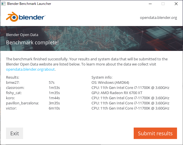 Blender ベンチマーク結果:G-Tune HN-Z-6700XT
